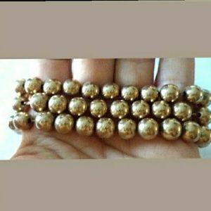 VNTG  Coro Pegasus Gold Tone Metal Bead Bracelet